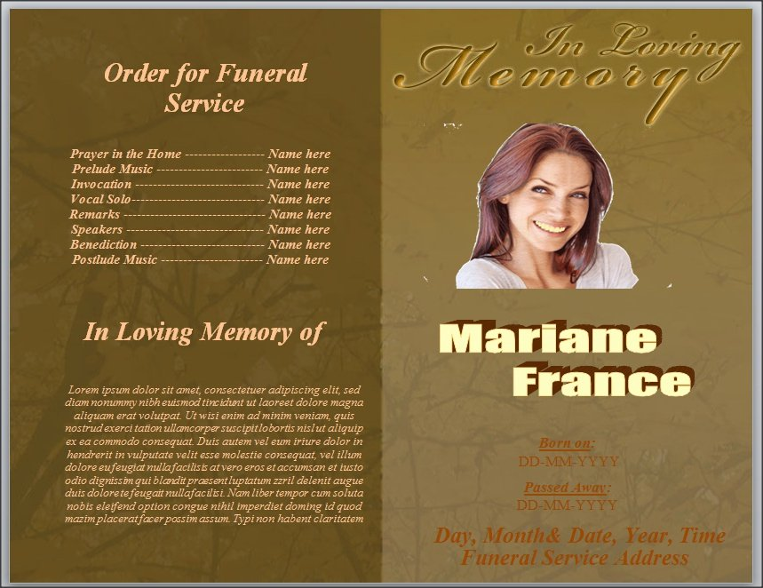 Free Template for order for Funeral Service Word by