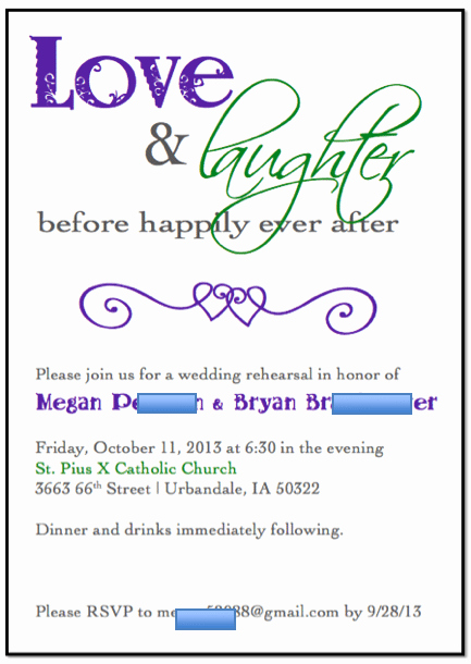 Free Template for Rehearsal Dinner Invitation