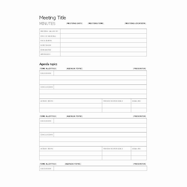 Free Templates for Business Meeting Minutes