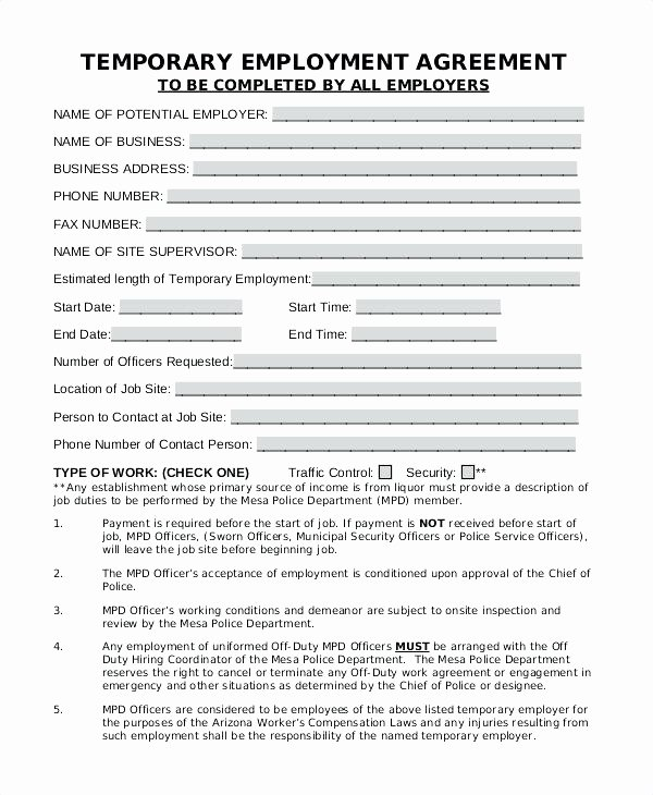 Free Temporary Employment Contract Template Image