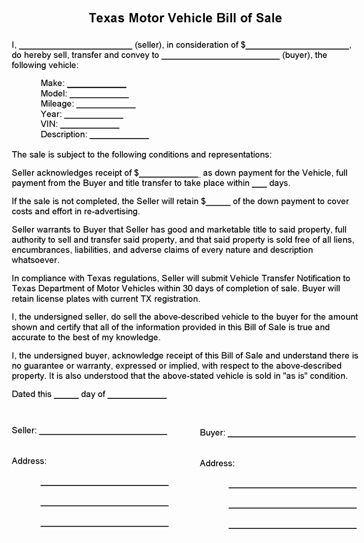 Free Texas Motor Vehicle Bill Sale form Pdf 1 Pages