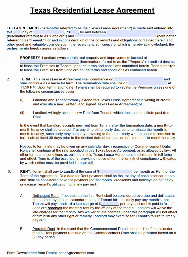 Free Texas Standard Residential Lease Agreement Template