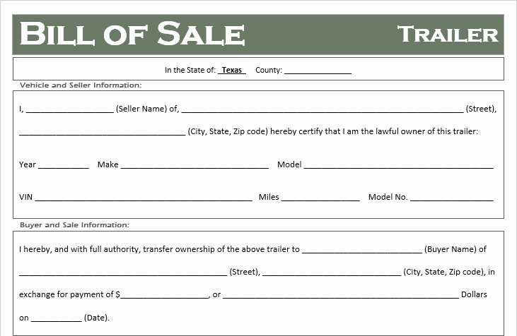 Free Texas Trailer Bill Of Sale Template F Road Freedom