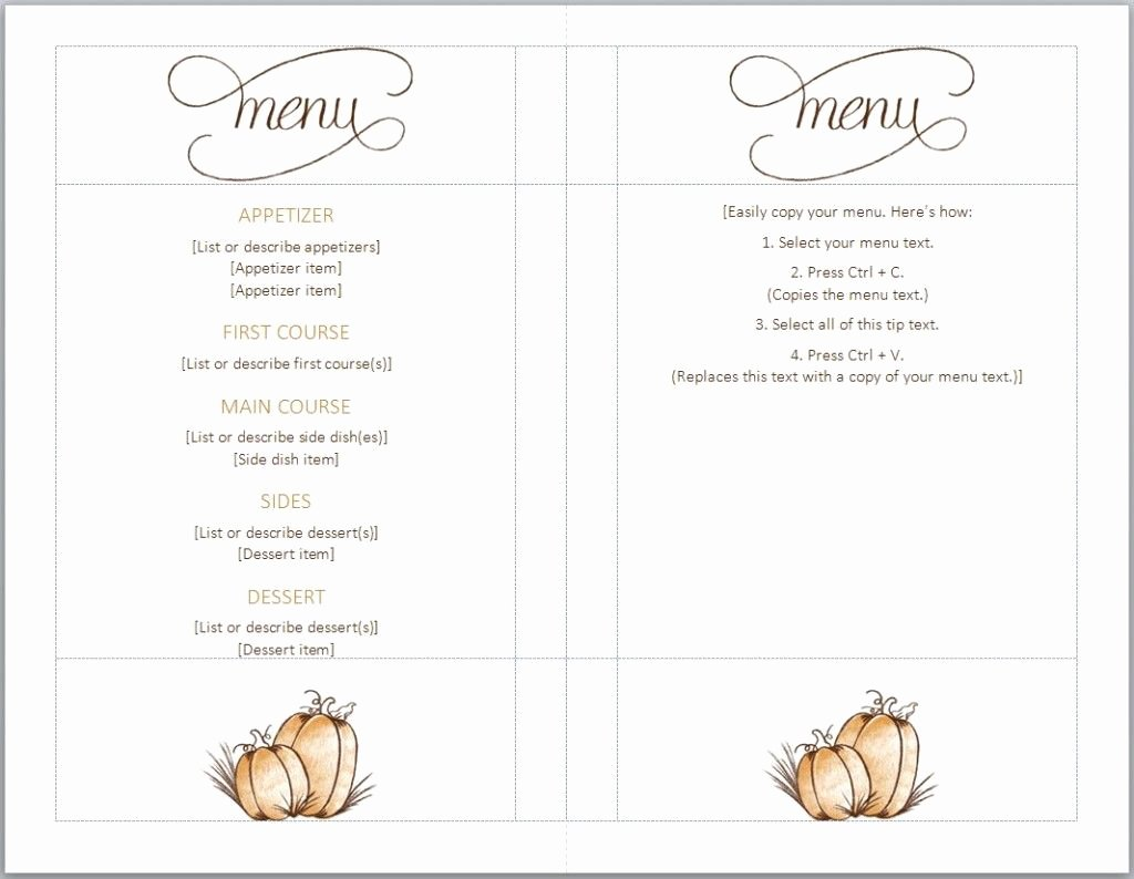 Free Thanksgiving Menu Template