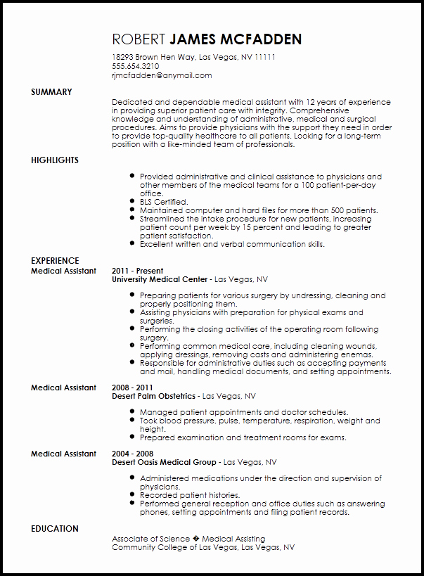 Free Traditional Medical assistant Resume Template