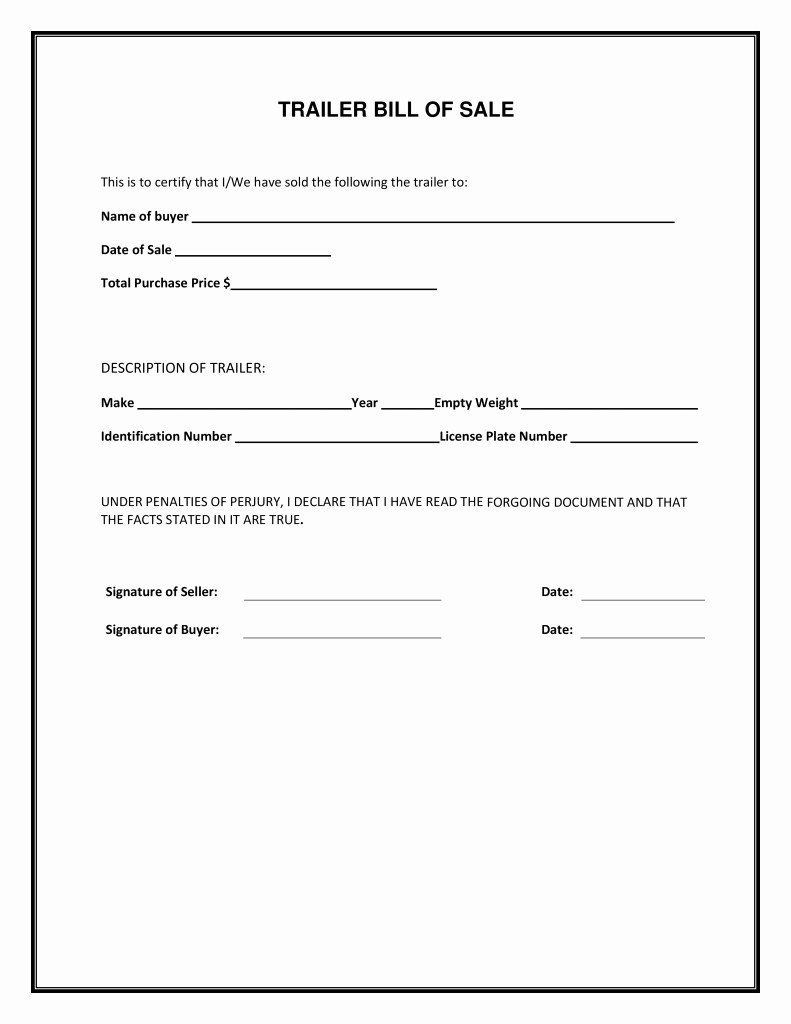 Free Trailer Bill Of Sale form Pdf Template