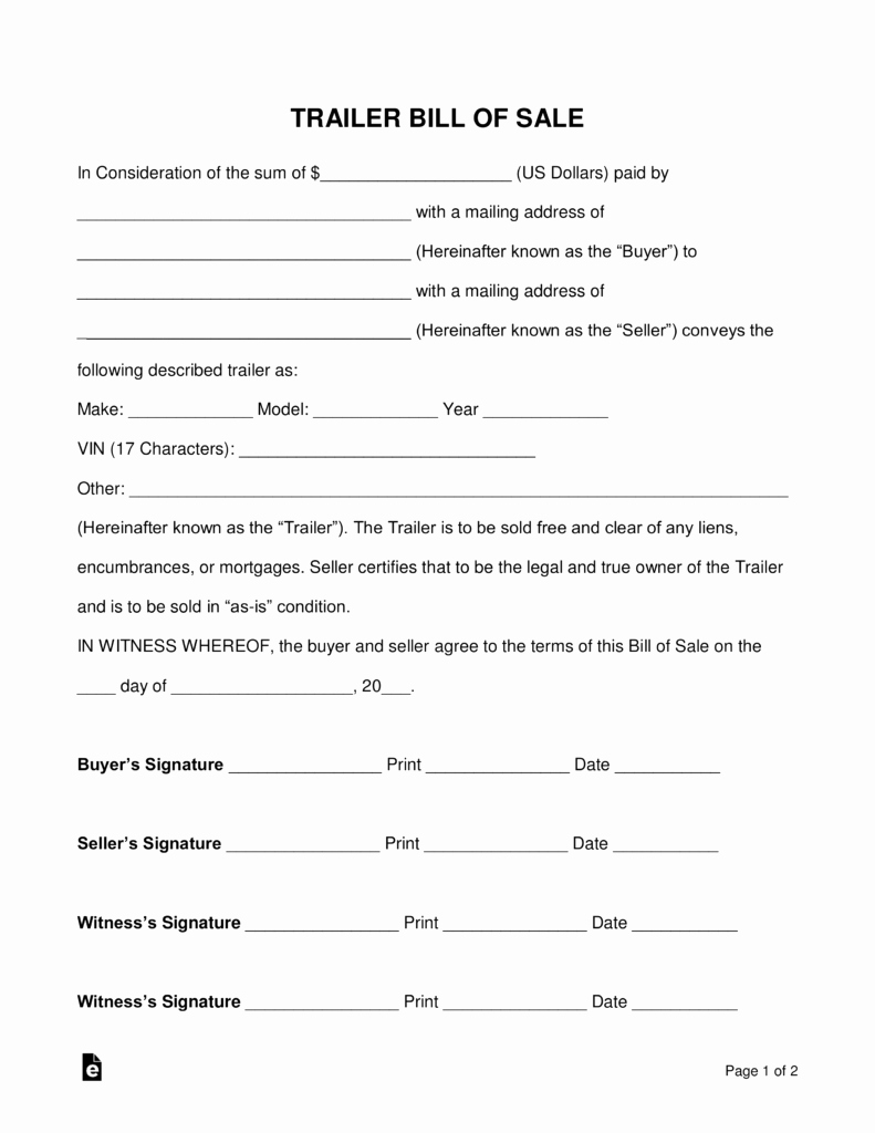 Free Trailer Bill Of Sale form Word Pdf