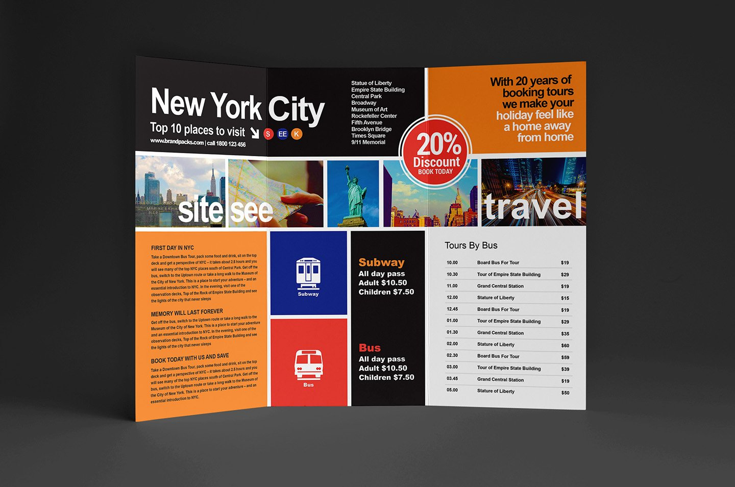 Free Travel Trifold Brochure Template for Shop