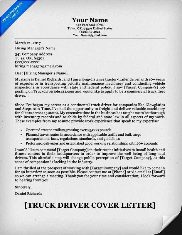 Free Truck Driver Cover Letter Samples