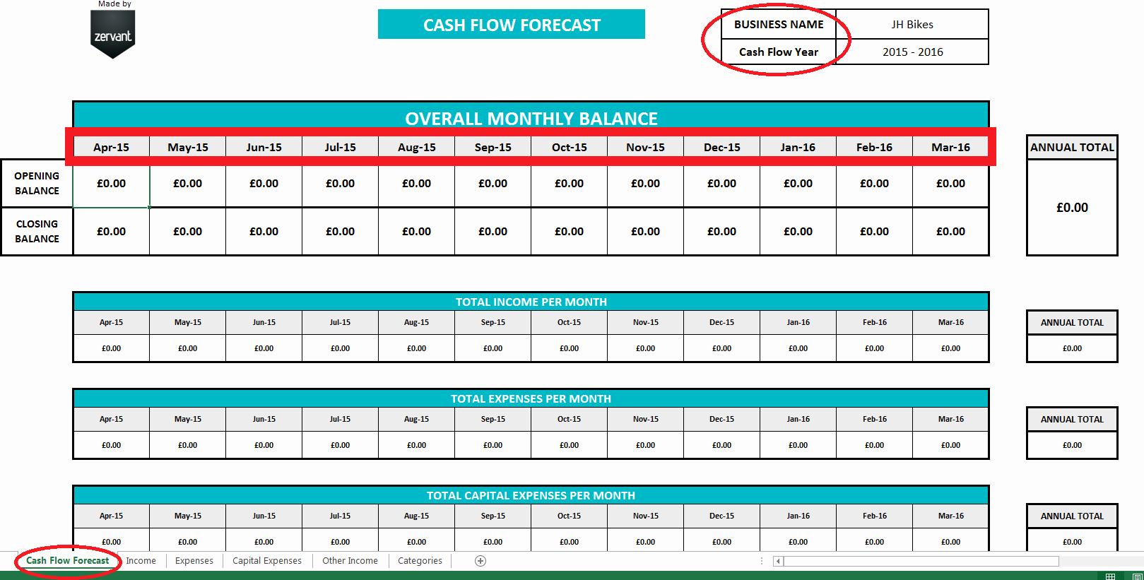 Free Uk Cash Flow Template Zervant Blog