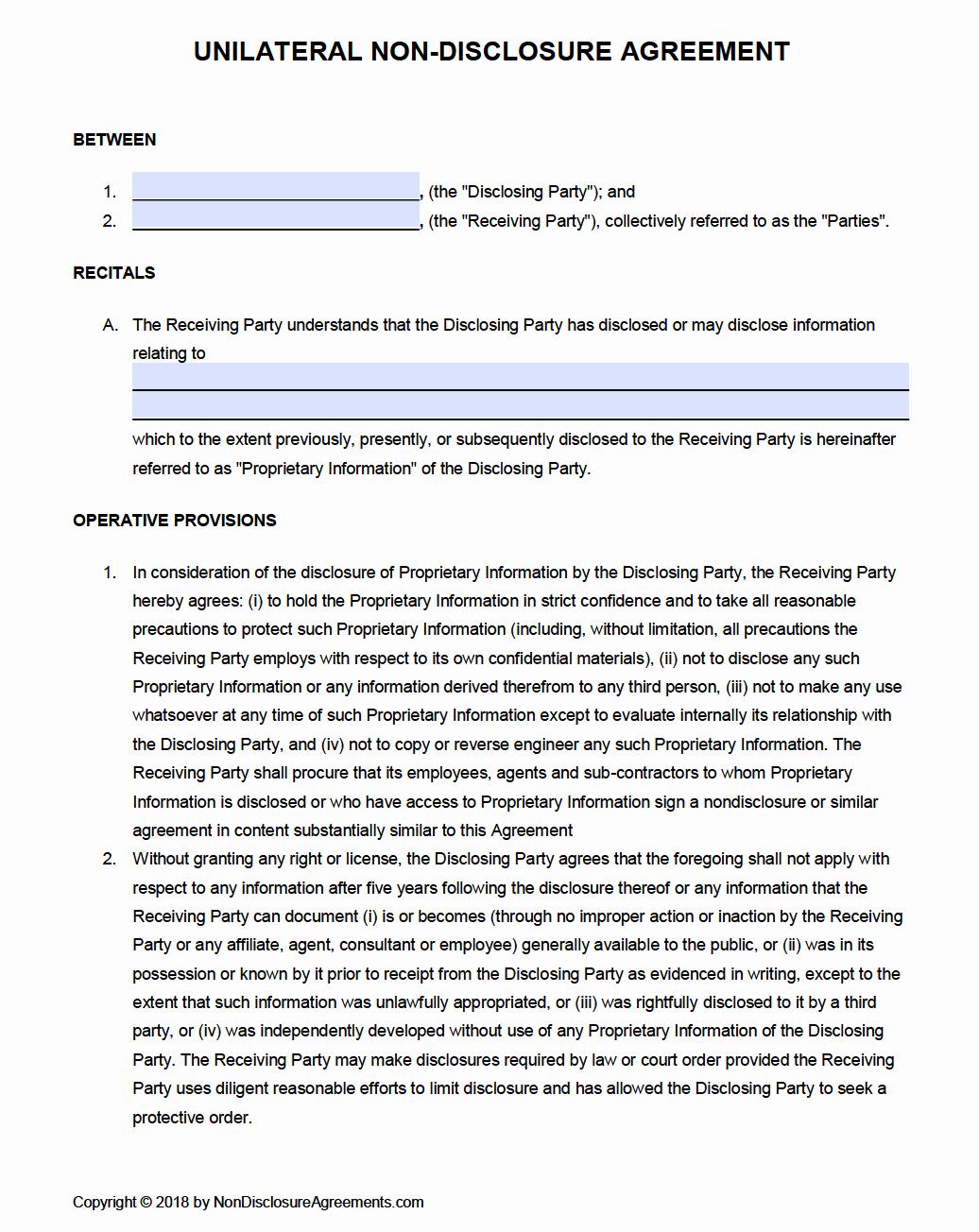 Free Unilateral Non Disclosure Agreement Nda Template