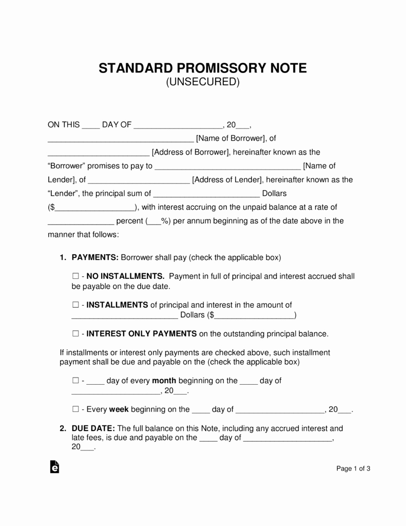 Free Unsecured Promissory Note Template Word