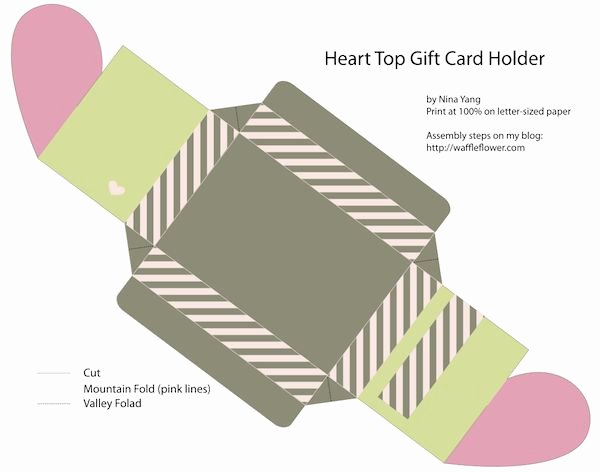 Free Valentine Gift Card Holder Heart top Box Templates