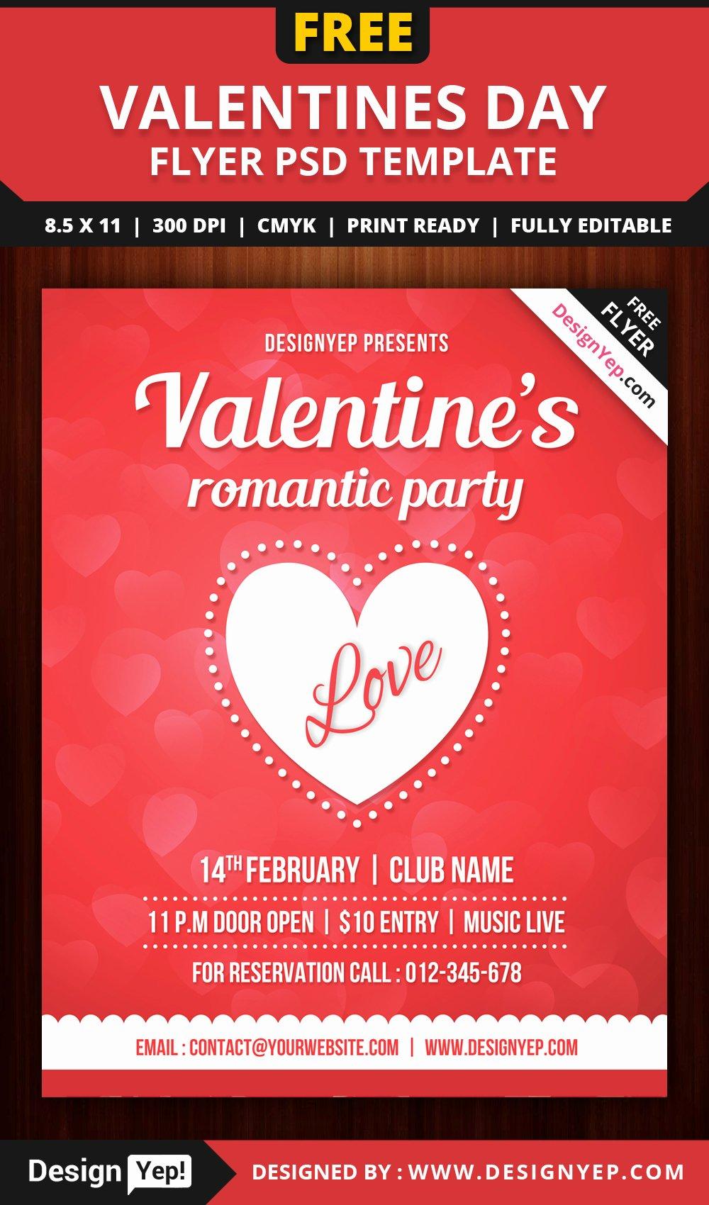 Free Valentines Party Flyer Template Psd Designyep
