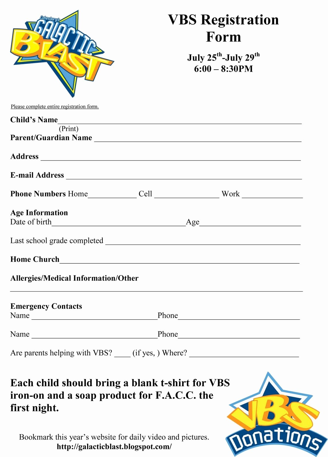Free Vbs Registration form Template Vbs