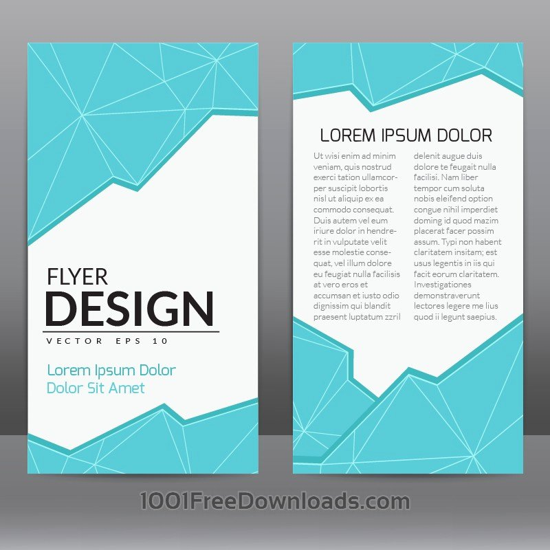 Free Vectors Flyer Template with Blue Polygonal