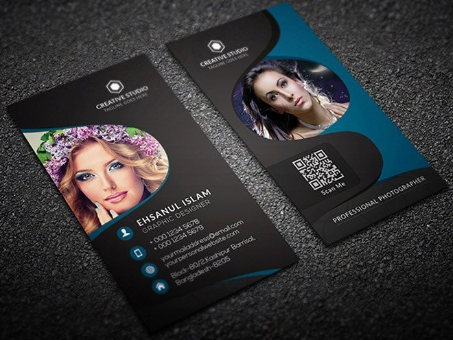 Free Vertical Graphy Business Card Template