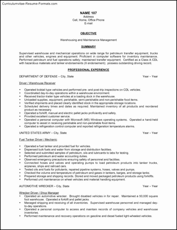 Free Warehouse Resume Templates Free Samples Examples
