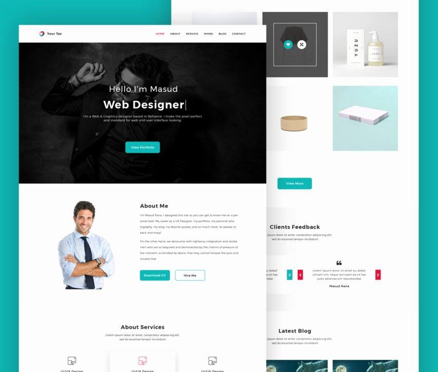 Free Web Designer Personal Portfolio Website Template Psd