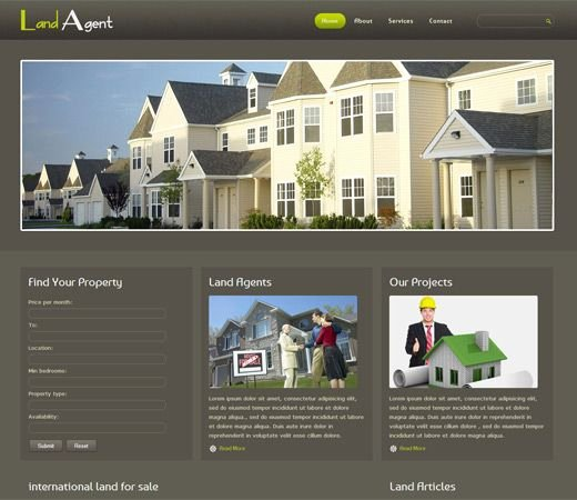 Free Website Template Css HTML5 Land Agent Real Estate