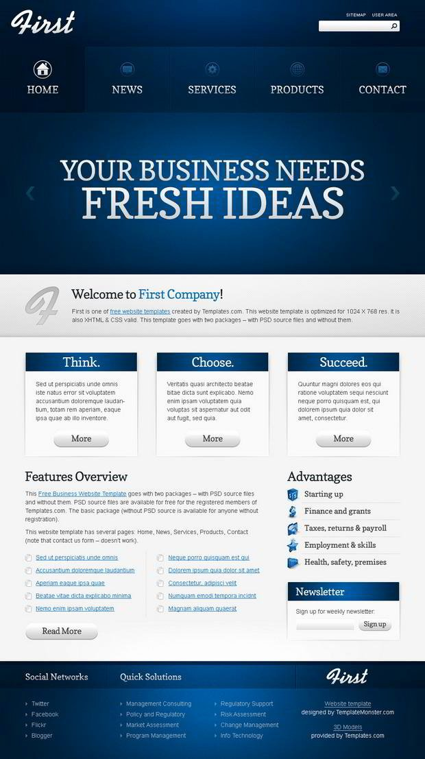 Free Website Template Efficient Start Of Your Business