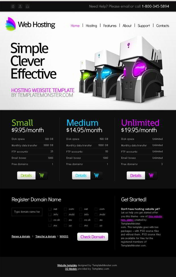 Free Website Template for Hosting Business Monsterpost