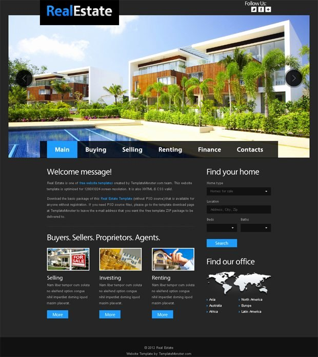 Free Website Template for Real Estate with Justslider