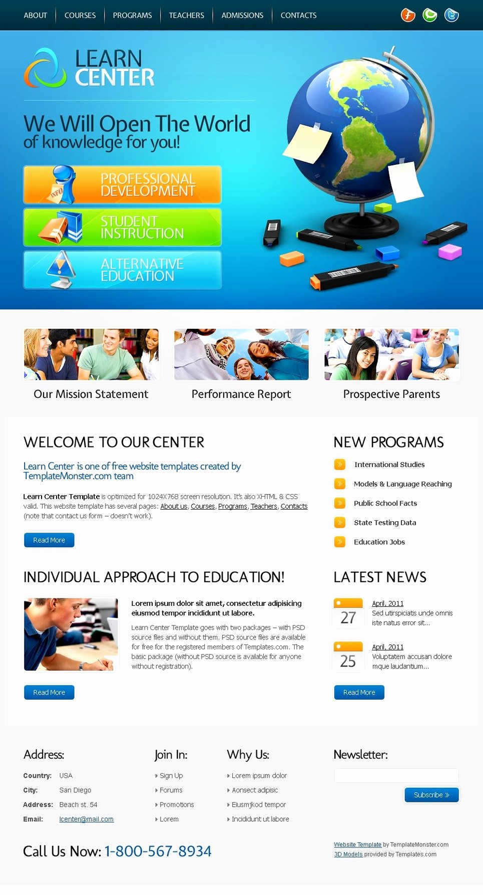 Free Website Template Learning Center
