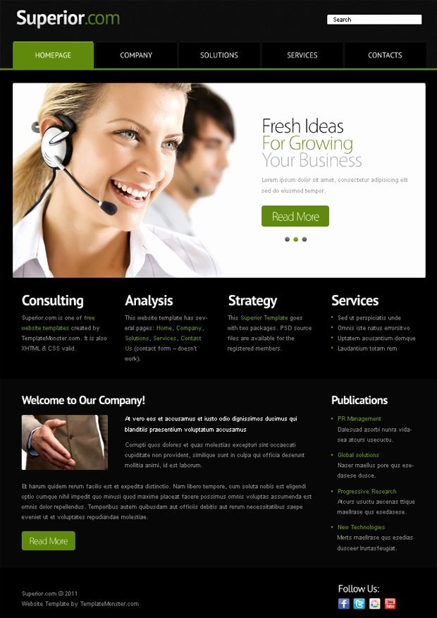 Free Website Template with Jquery Slider for Business