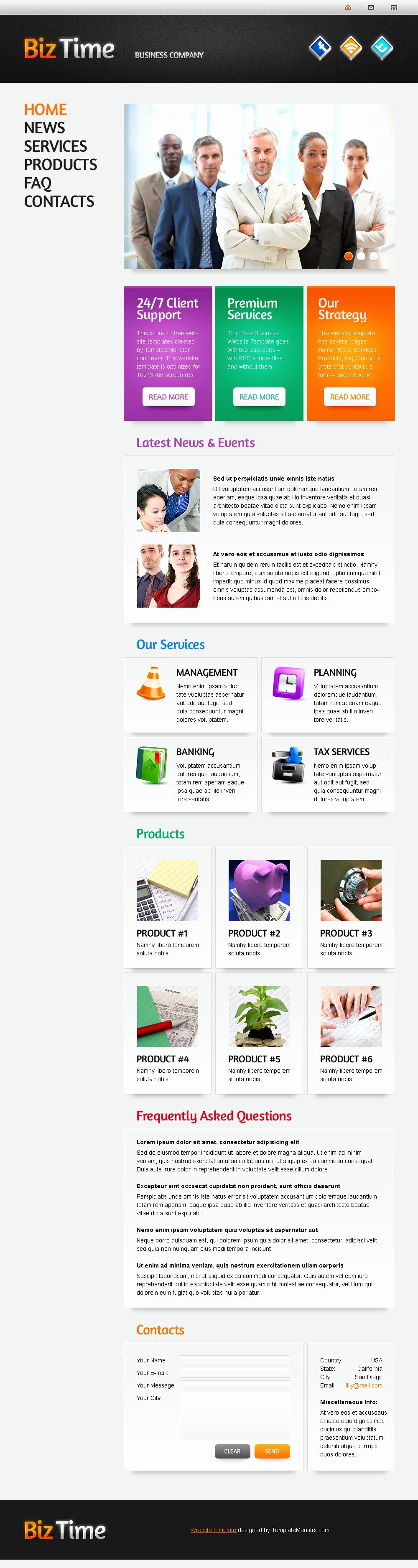 Free Website Template with Single Page Layout Business