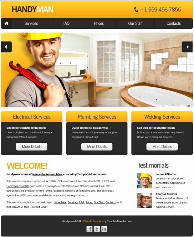 Free Website Template with Slideshow for Maintenance