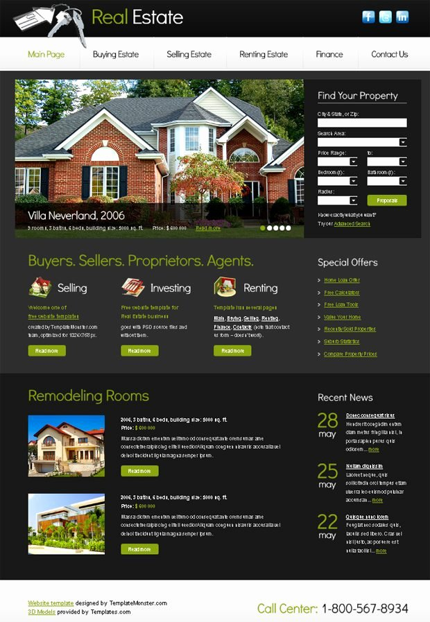 Free Website Template with Slideshow for Real Estate