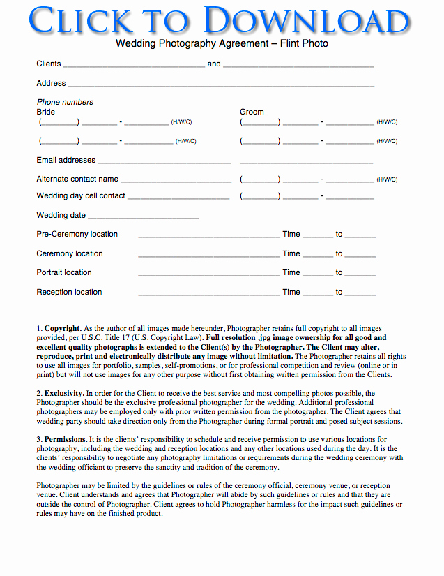Free Wedding Graphy Contract forms