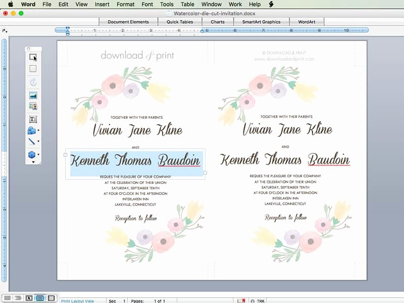 Free Wedding Invitation Template with Watercolor Flowers