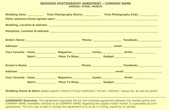 Free Wedding Portrait Mercial Contract Samples
