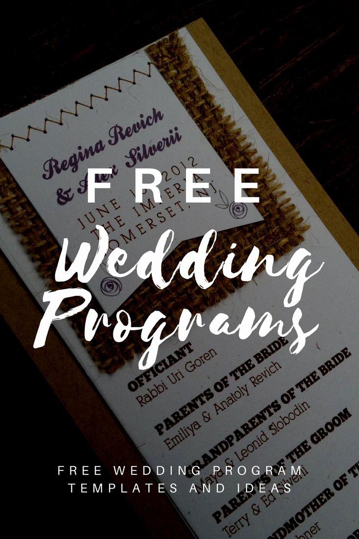 Free Wedding Program Templates Invitations
