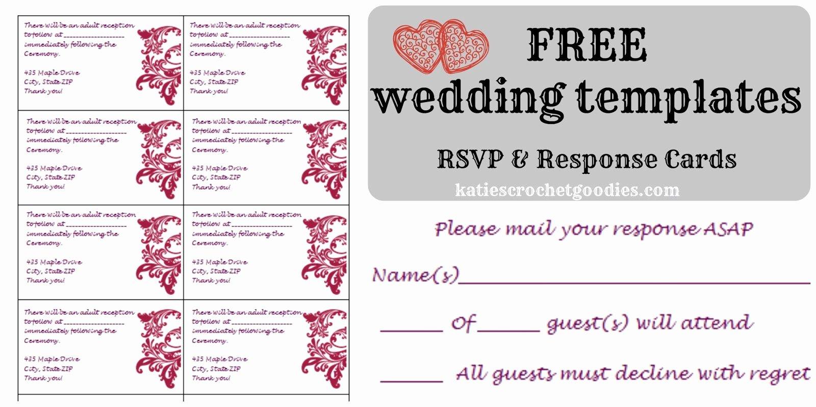 Free Wedding Templates Rsvp & Reception Cards Katie S