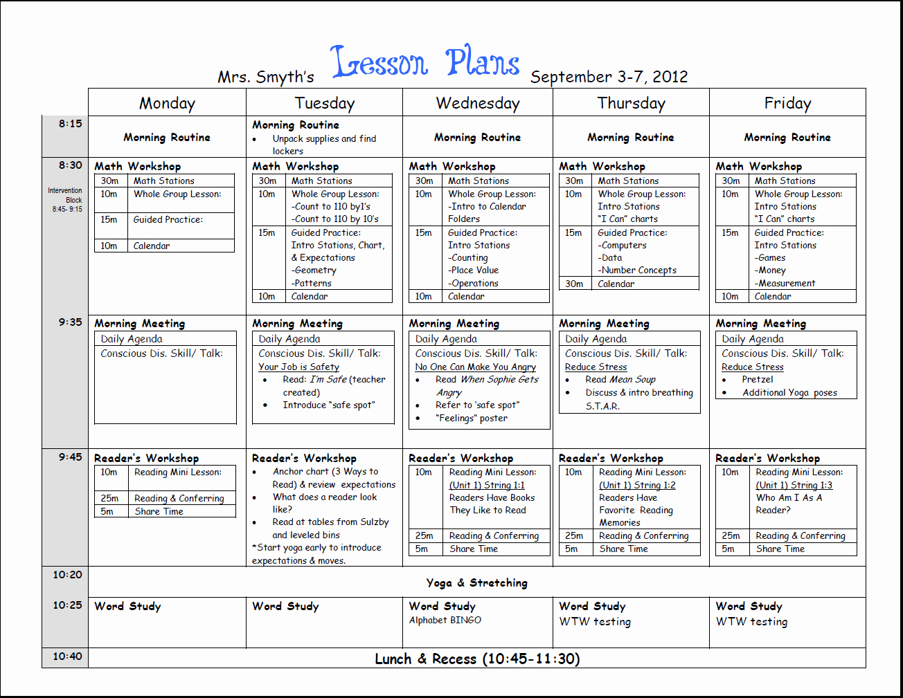 Free Weekly Lesson Plan Template and Teacher Resources