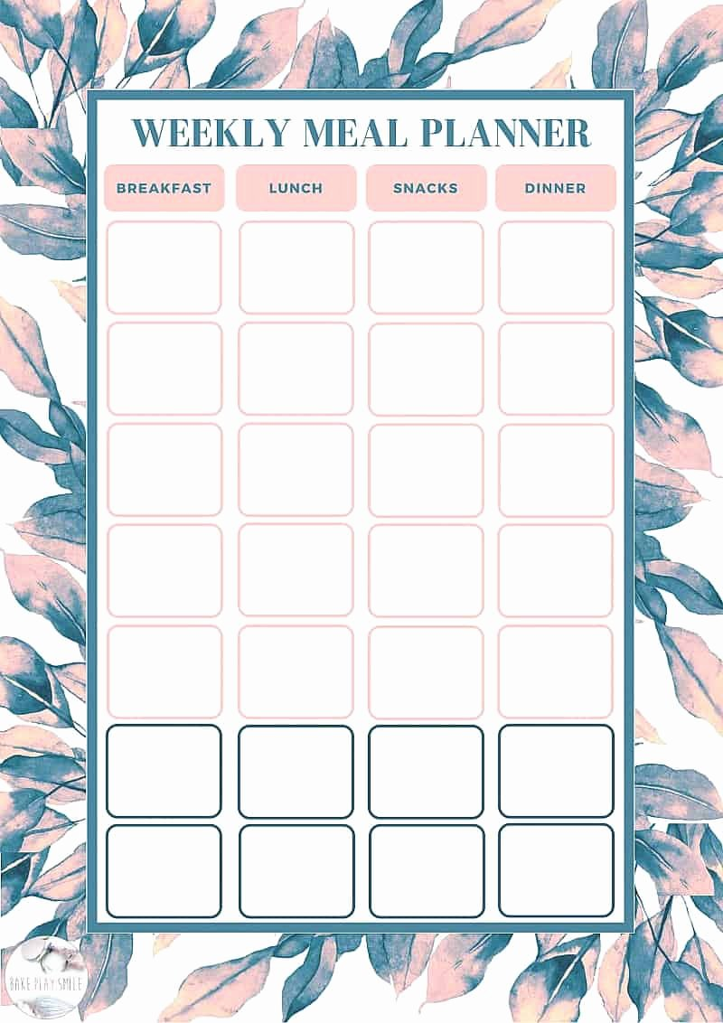 Free Weekly Meal Planning Template Bake Play Smile