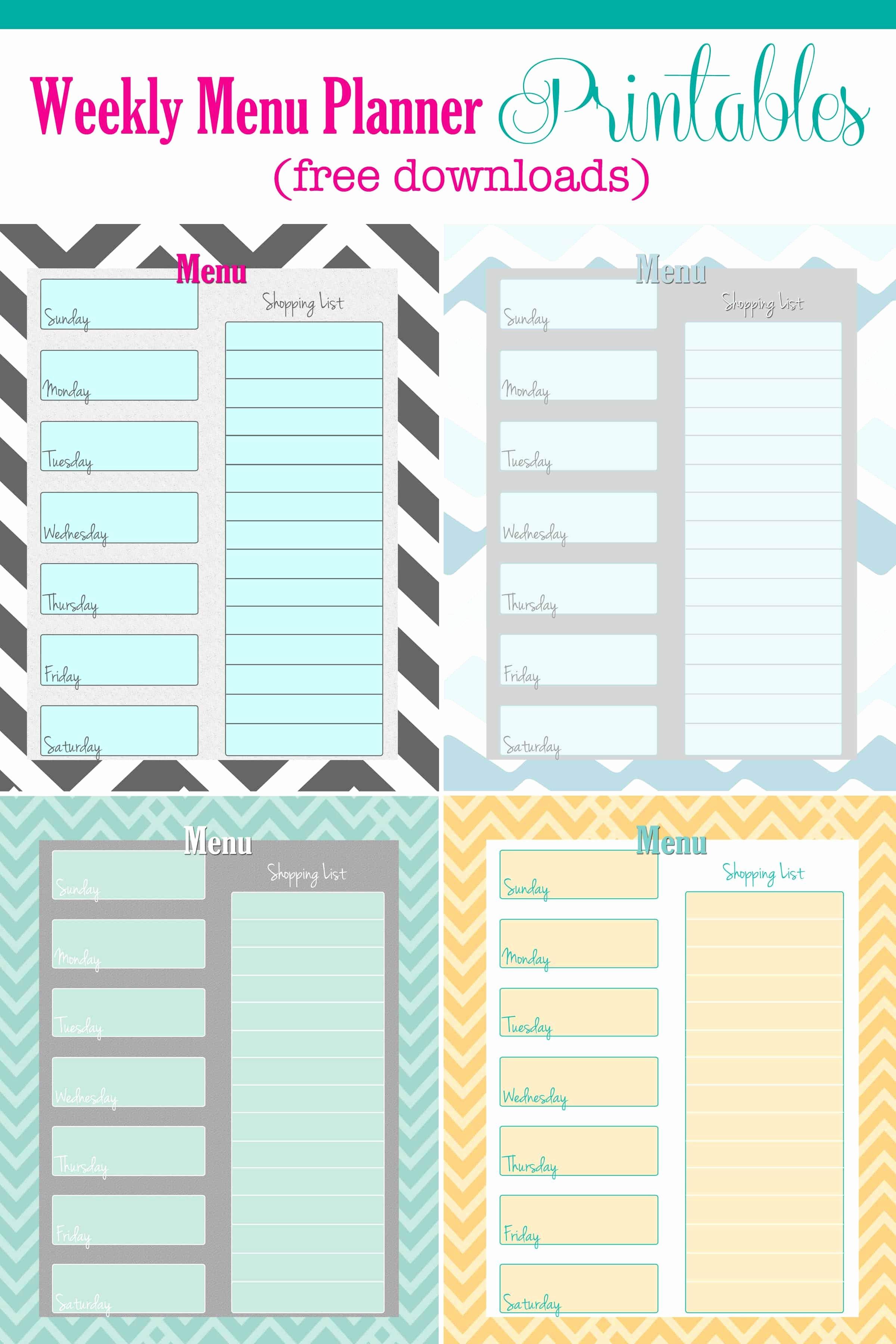 Free Weekly Menu Planner Printable 4 Colors Cupcake