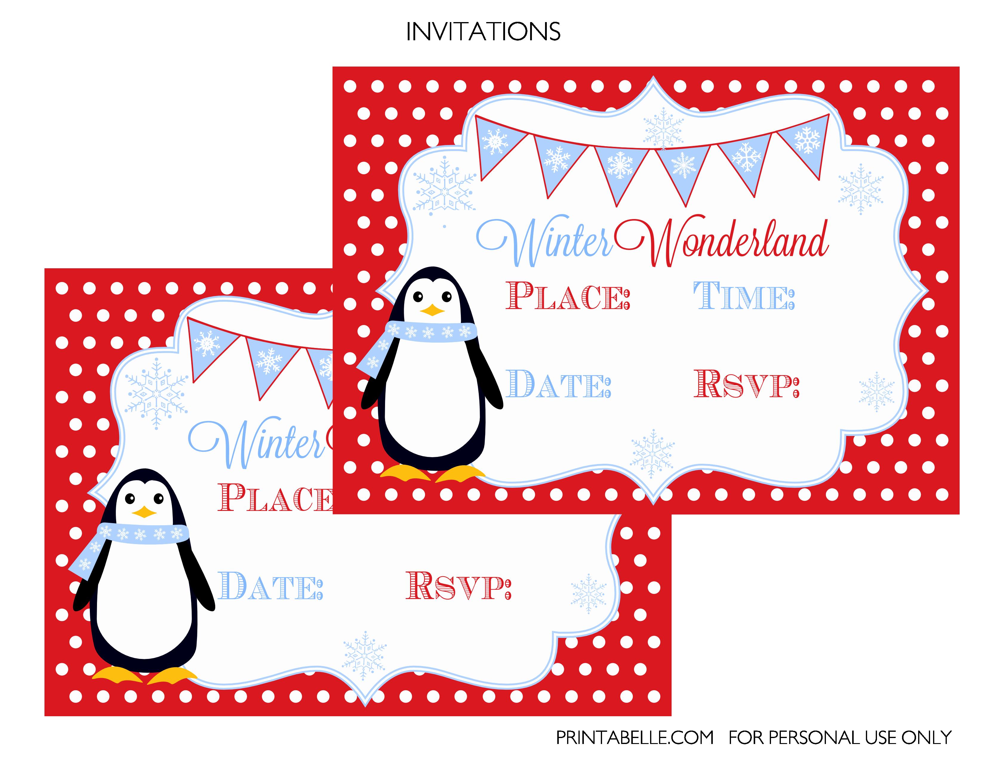Free Winter Wonderland Party Printables