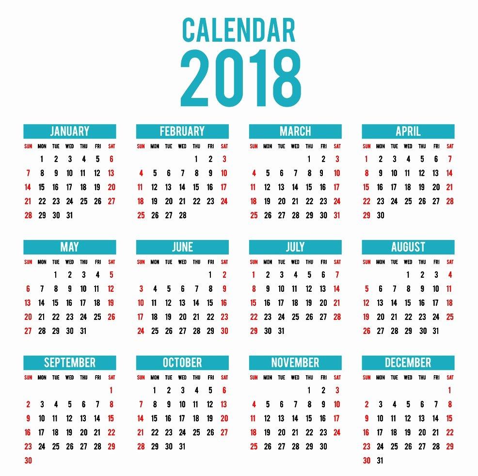 Free Word Calendar 2018 Template