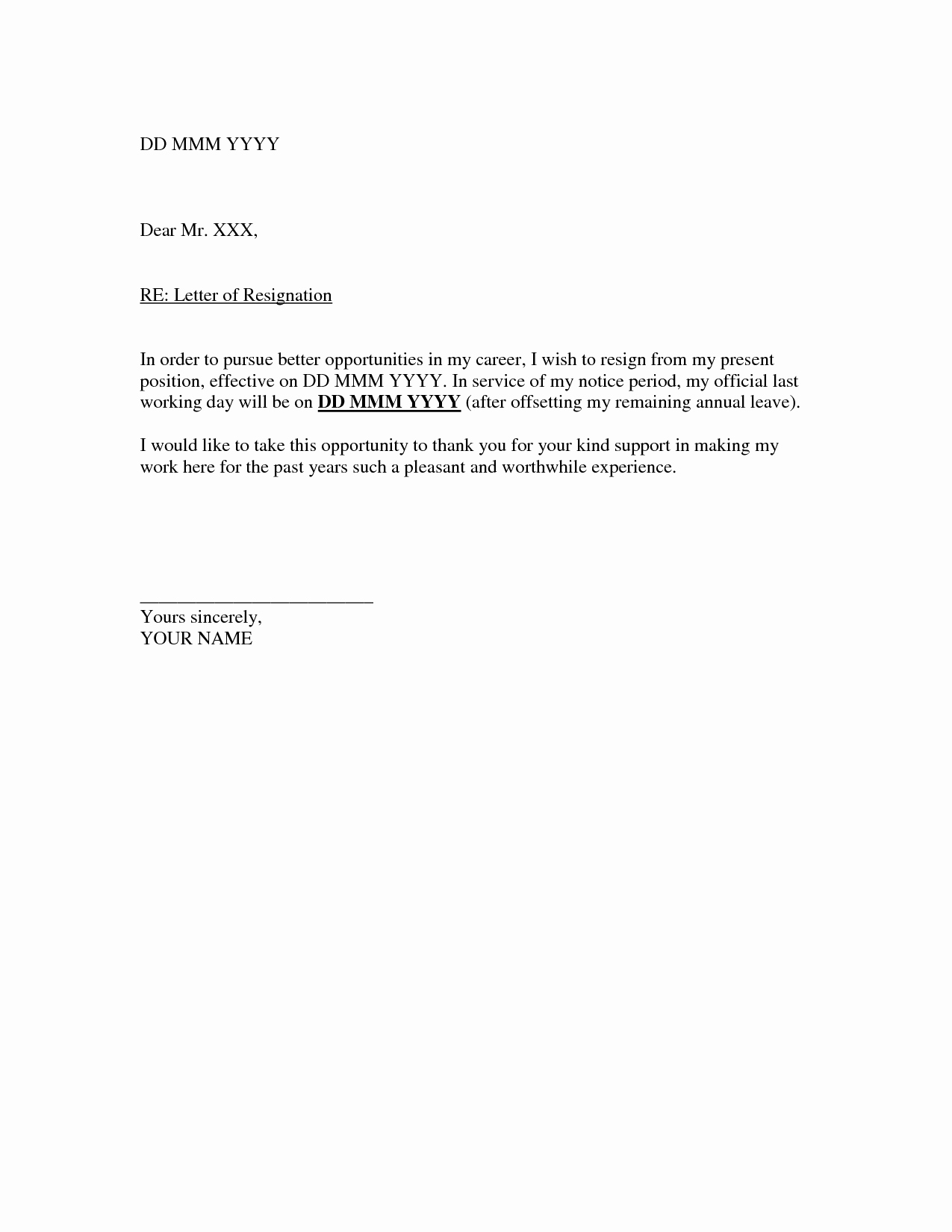 Free Writing Letter Of Resignation Example