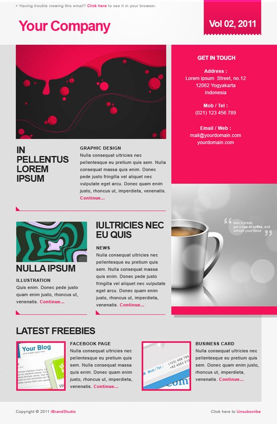 Freebie Elegant Pink Newsletter Psd Template