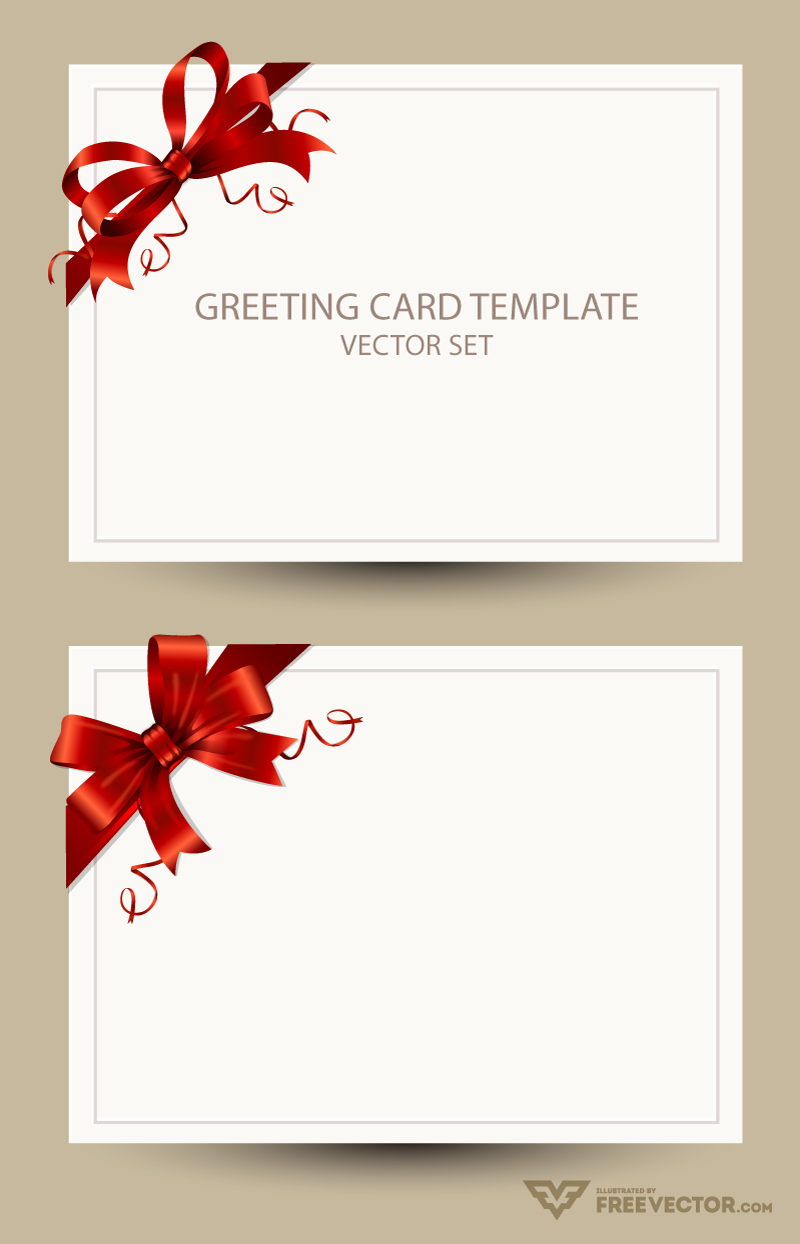 Freebie Greeting Card Templates with Red Bow – Ai Eps