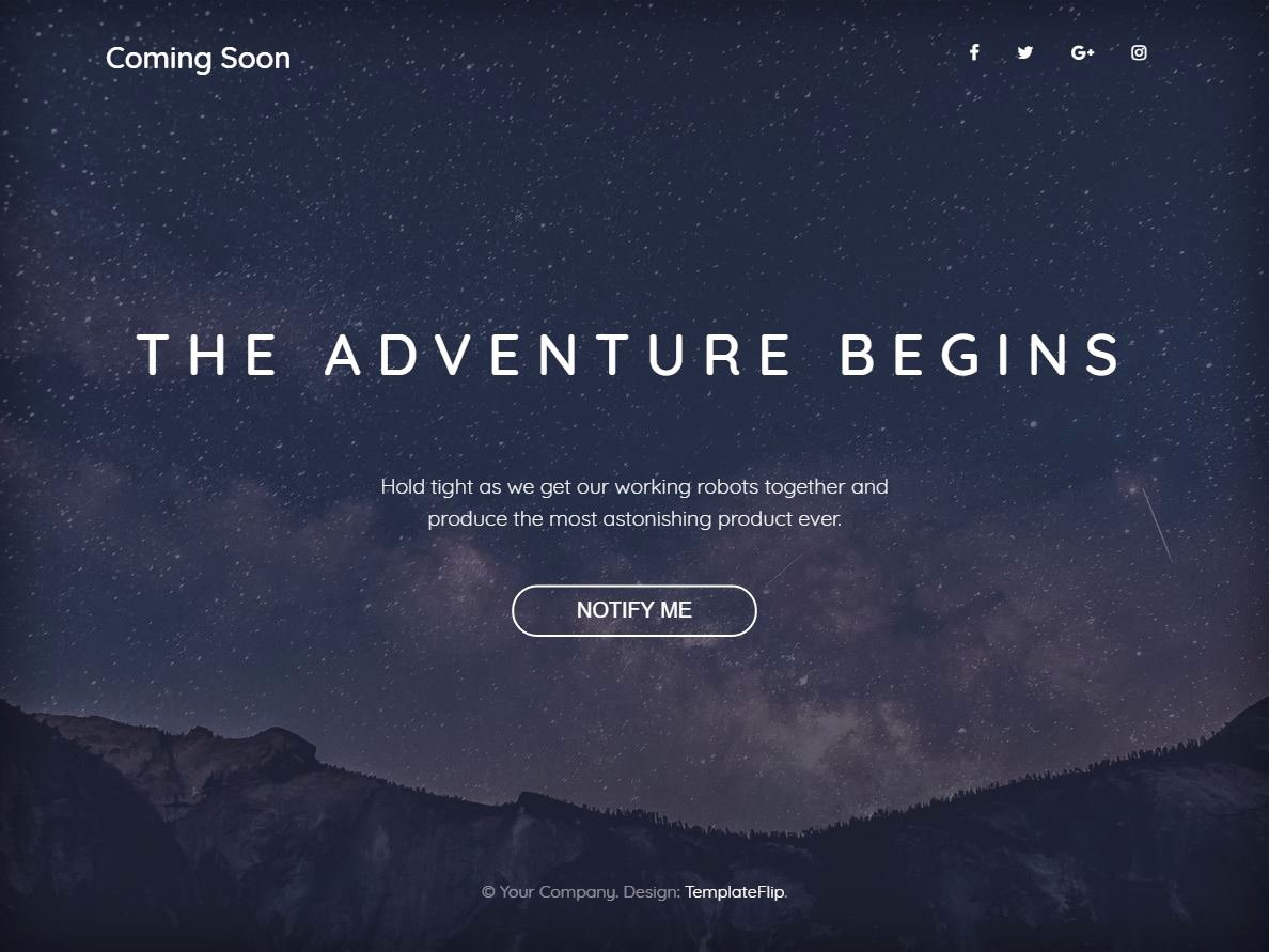 Freebie Ing soon Bootstrap 4 Template with Full Width