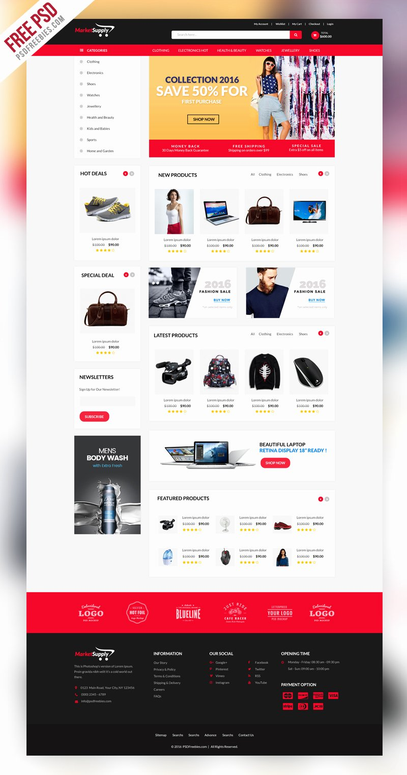 Freebie Multipurpose E Merce Website Template Psd