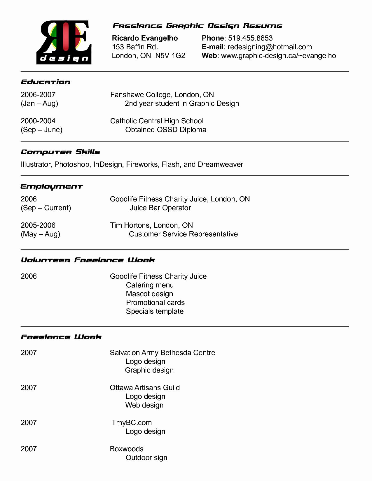 Freelance Graphic Resume Objective Piqqus