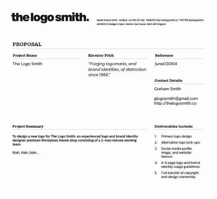 Freelance Logo Design Proposal and Invoice Template for