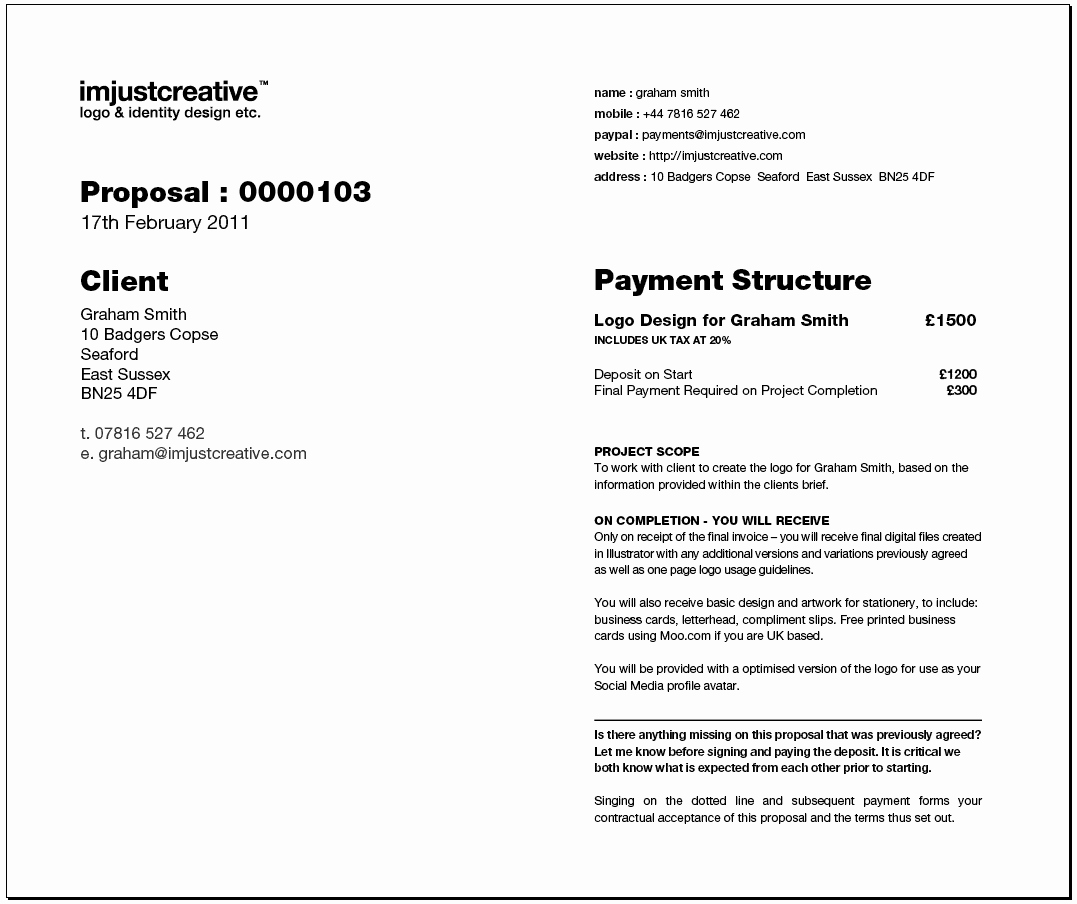 Freelance Logo Design Proposal Template for Download